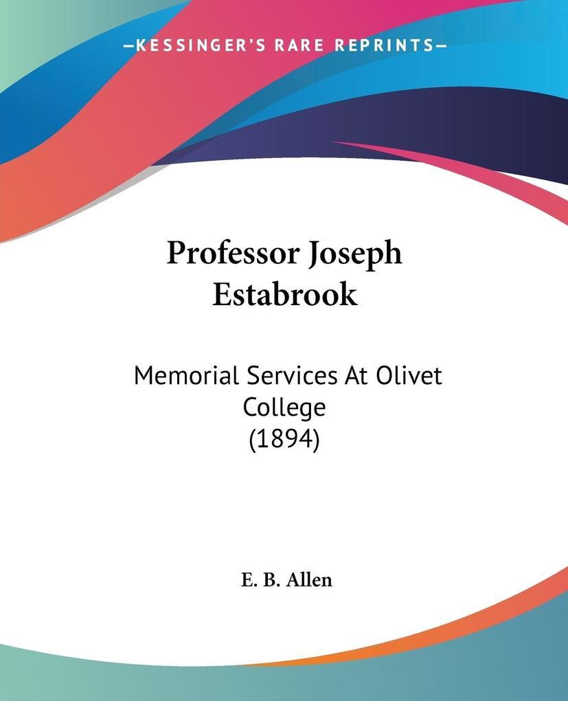 Professor Joseph Estabrook als Taschenbuch