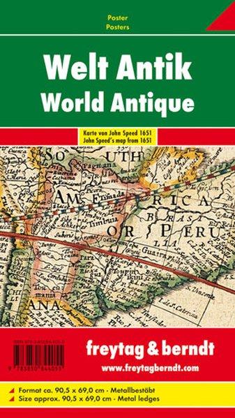 Antike Weltkarte. Poster mit Metallbestäbung als Blätter und Karten