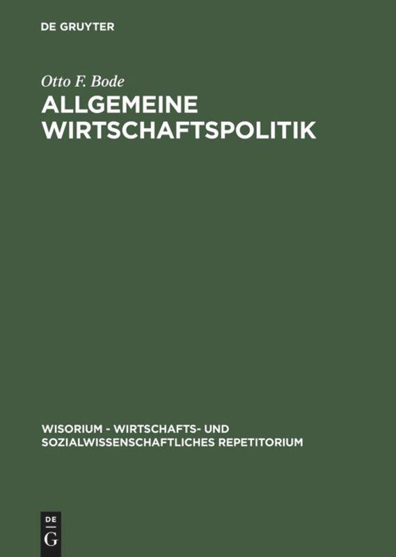 Allgemeine Wirtschaftspolitik als Buch (gebunden)