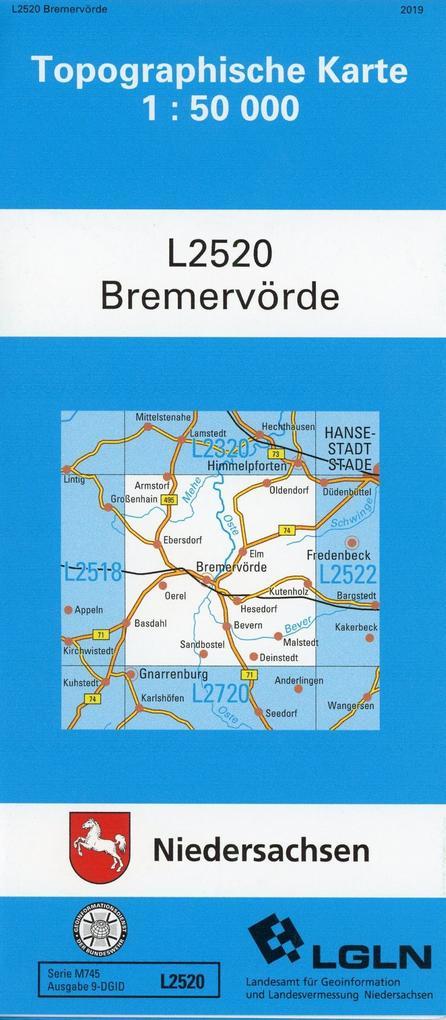 Bremervörde 1 : 50 000 (TK L2520/N) als Blätter und Karten