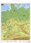 Deutschland, physisch 1 : 1 100 000. Wandkarte Kleinformat mit Metallstäben