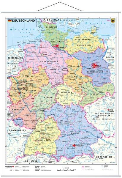 Deutschland, politisch 1 : 1 000 000. Wandkarte Kleinformat mit Metallstäben als Blätter und Karten