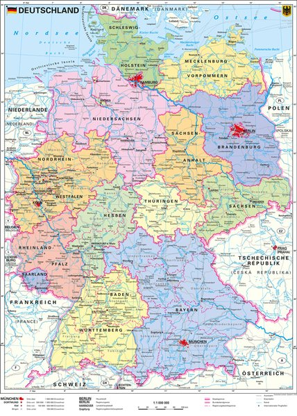 Deutschland, politisch 1 : 1 000 000. Wandkarte Kleinformat ohne Metallstäbe als Buch