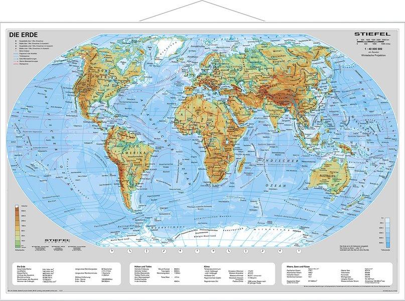 Die Erde, physisch 1 : 40 000 000. Wandkarte Kleinformat mit Metallstäben als Blätter und Karten