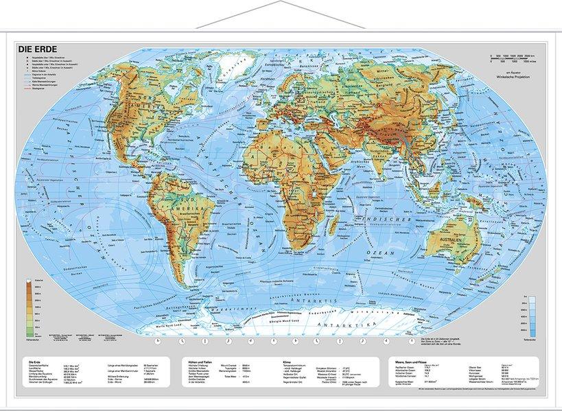 Die Erde, physisch 1 : 60 000 000. Wandkarte Mini-Format als Blätter und Karten