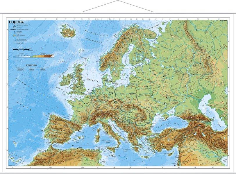 Europa, physisch 1 : 11 000 000. Wandkarte Mini-Format als Blätter und Karten