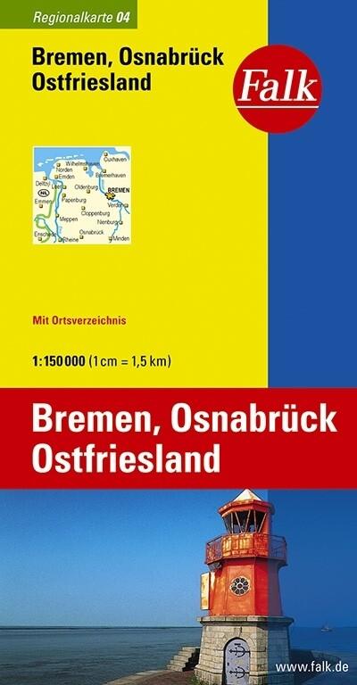 Falk Regionalkarte 04. Bremen, Osnabrück, Ostfriesland. 1 : 150 000 als Blätter und Karten