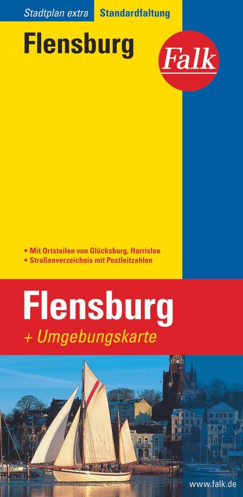 Falk Stadtplan Extra Standardfaltung Flensburg mit Ortsteilen von Glücksburg als Blätter und Karten