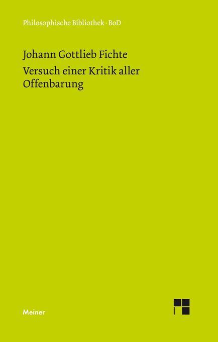 Versuch einer Kritik aller Offenbarung (1792) als Buch (gebunden)