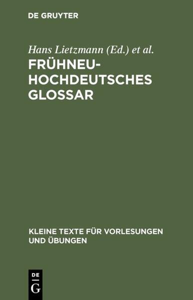 Frühneuhochdeutsches Glossar als Buch (kartoniert)