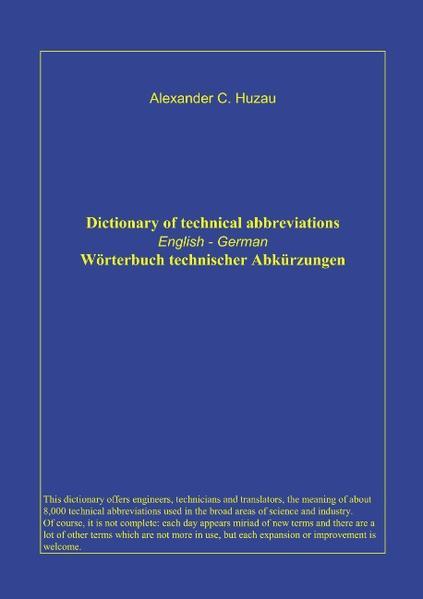 Wörterbuch technischer Abkürzungen als Buch (gebunden)