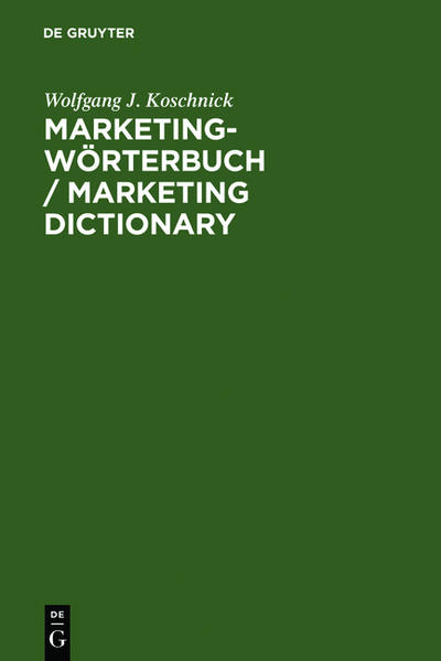 Marketing-Wörterbuch / Marketing Dictionary als Buch (gebunden)