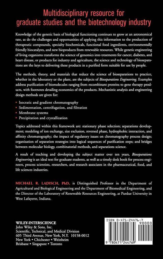 Bioseparations Engineering als Buch (gebunden)