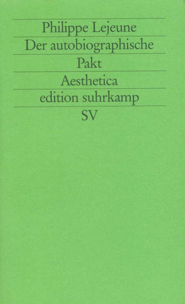 Der autobiographische Pakt als Buch (kartoniert)