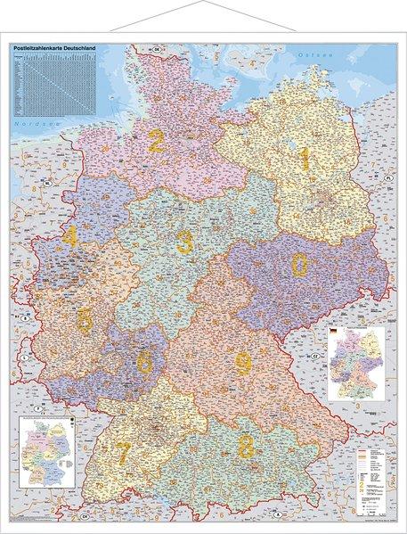 Postleitzahlen-Karte Deutschland 1 : 750 000. Wandkarte Grossformat mit Metallstäben als Blätter und Karten