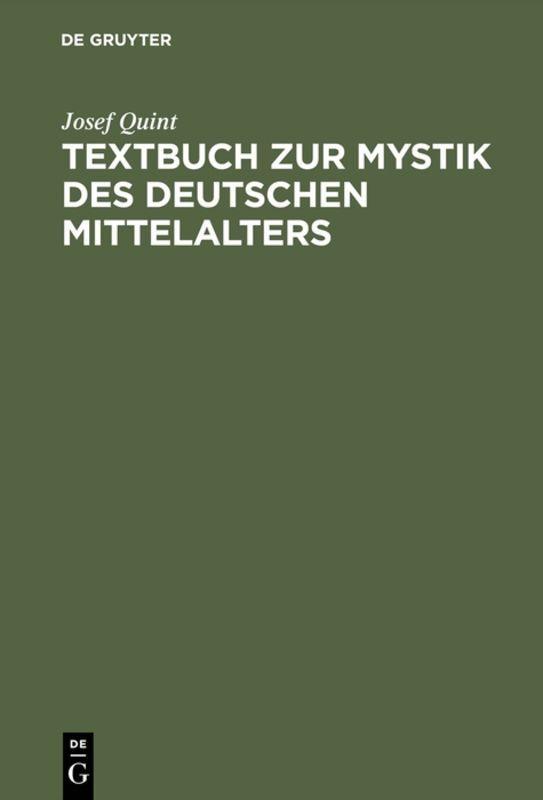 Textbuch zur Mystik des deutschen Mittelalters als Buch (gebunden)