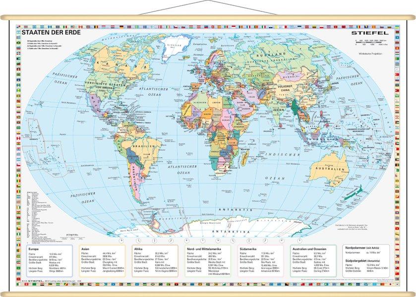 Staaten der Erde, politisch 1 : 60 000 000. Wandkarte Mini-Format als Blätter und Karten