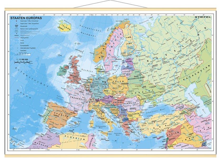 Staaten Europas, politisch. Wandkarte Mini-Format als Blätter und Karten