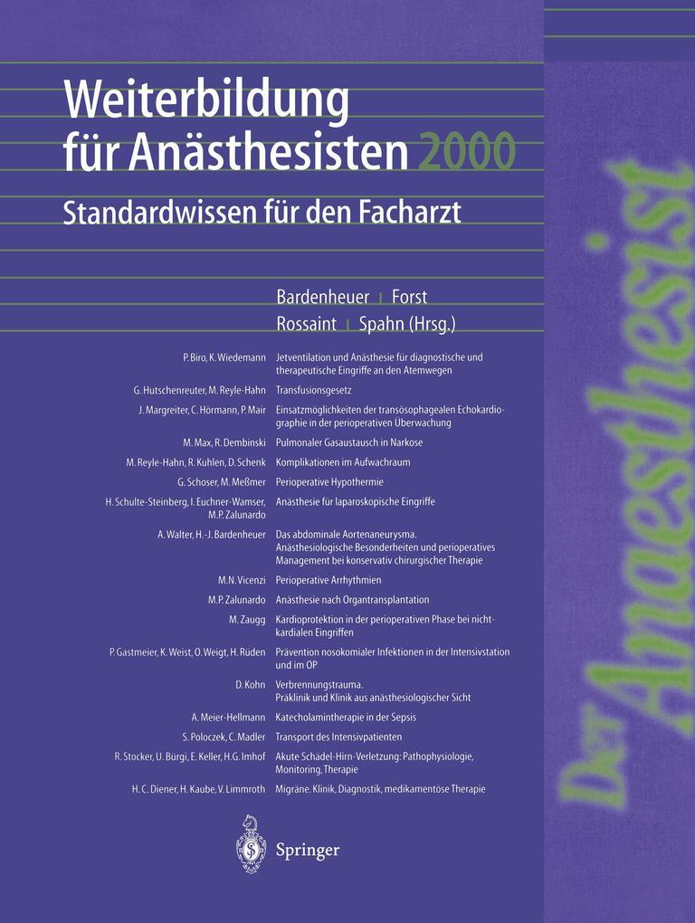 Weiterbildung für Anästhesisten 2000 als Buch (kartoniert)