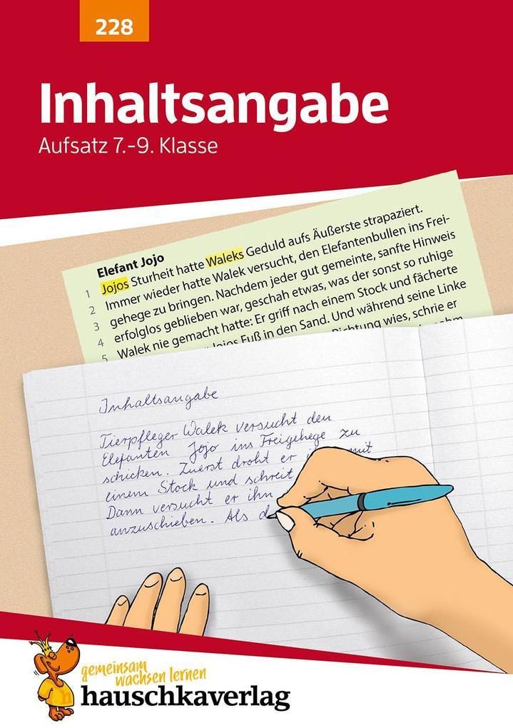 Inhaltsangabe. Aufsatz 7.-9. Klasse als Buch (geheftet)