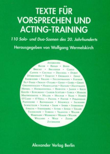 Texte für Vorsprechen und Acting-Training als Buch (kartoniert)