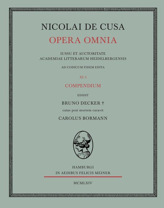 Nicolai de Cusa Opera omnia / Compendium als Buch (kartoniert)