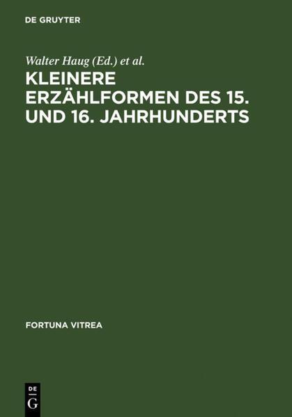Kleinere Erzählformen des 15. und 16. Jahrhunderts als Buch (gebunden)