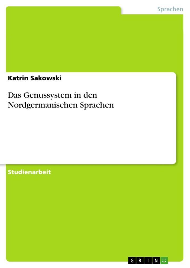 Das Genussystem in den Nordgermanischen Sprachen als eBook epub