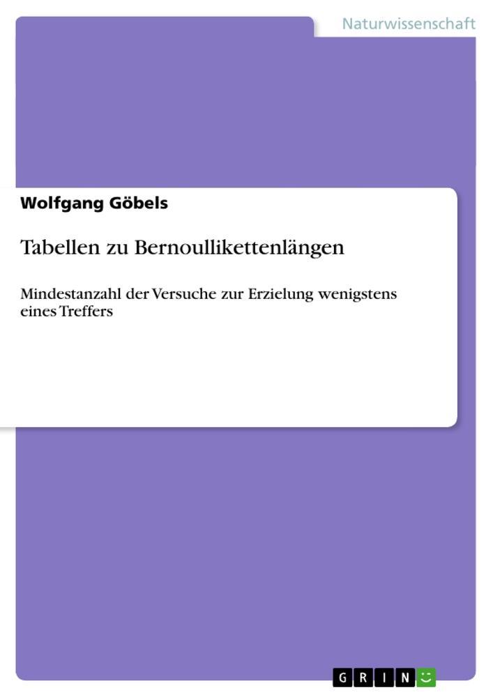 Tabellen zu Bernoullikettenlängen als Taschenbuch