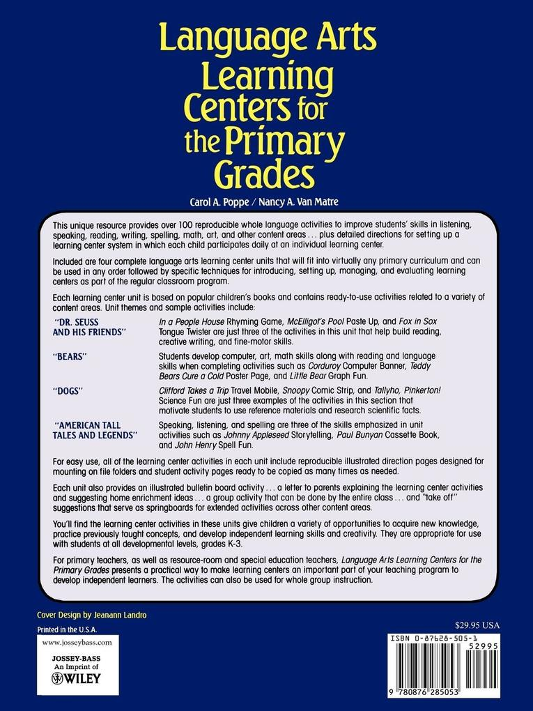 Language Arts Learning Centers for the Primary Grades als Taschenbuch