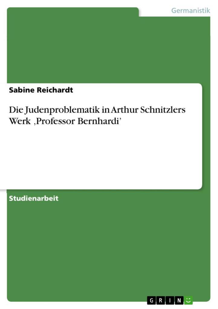 Die Judenproblematik in Arthur Schnitzlers Werk ,Professor Bernhardi' als eBook epub