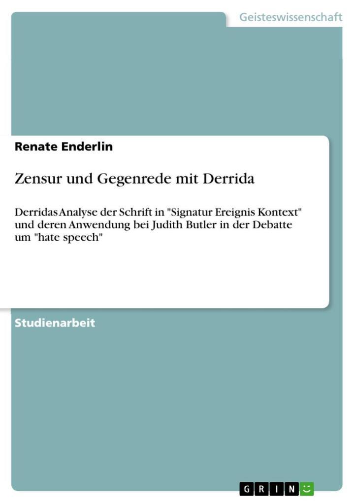 Zensur und Gegenrede mit Derrida als eBook epub