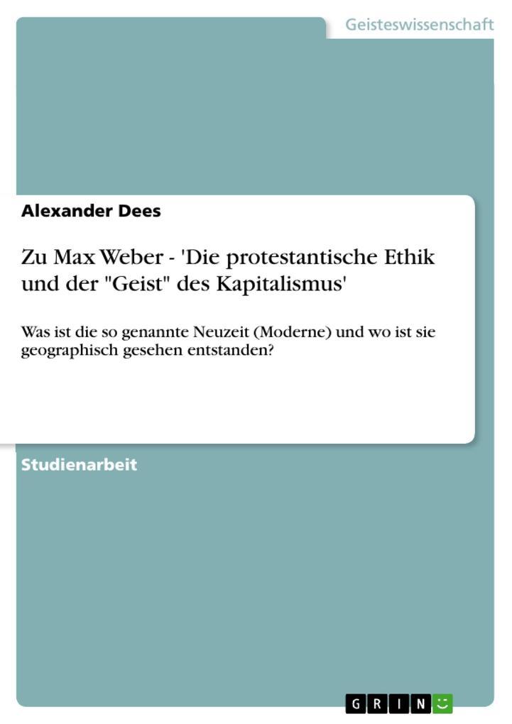 """Zu Max Weber - 'Die protestantische Ethik und der """"Geist"""" des Kapitalismus' als eBook pdf"""
