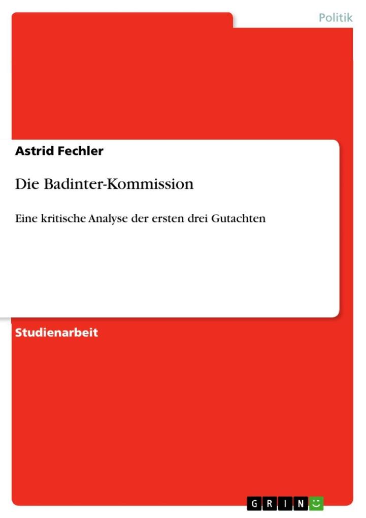Die Badinter-Kommission als eBook epub