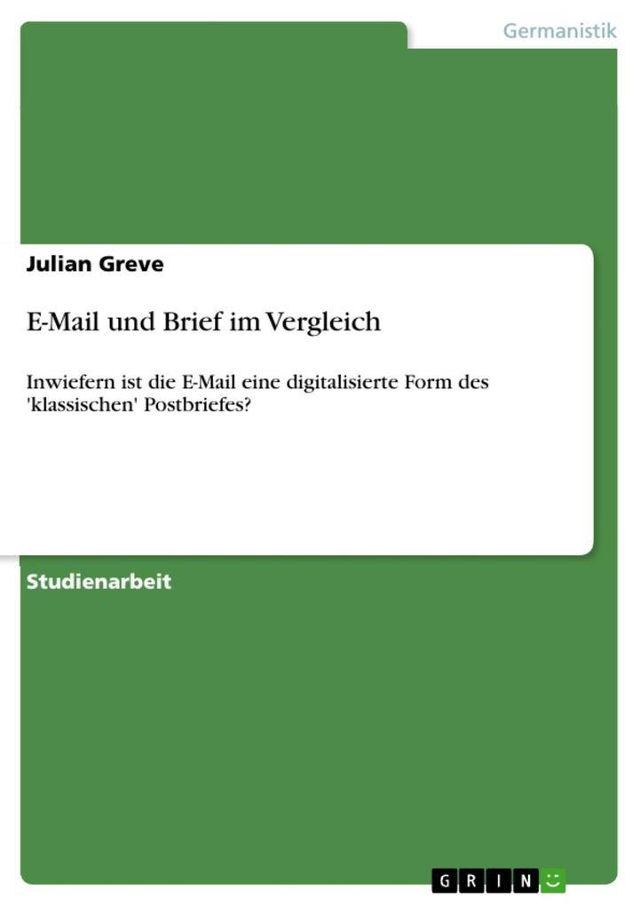 E-Mail und Brief im Vergleich als eBook epub