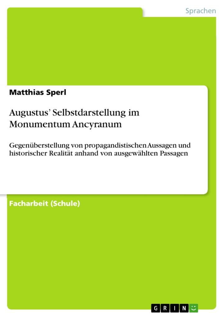 Augustus' Selbstdarstellung im Monumentum Ancyranum als eBook pdf