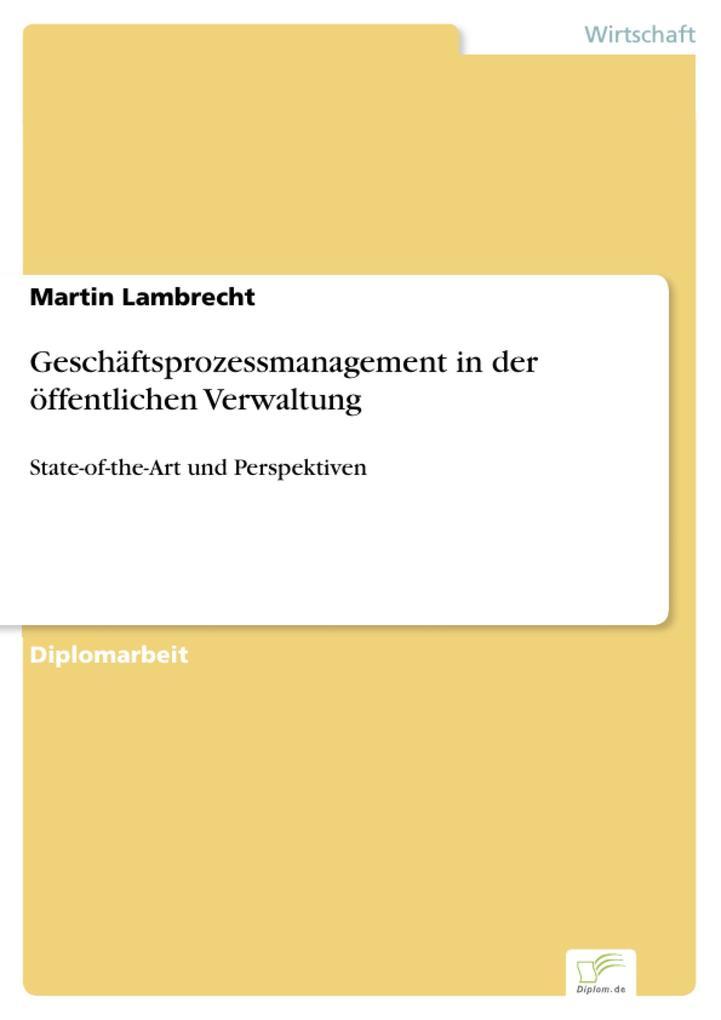 Geschäftsprozessmanagement in der öffentlichen Verwaltung als eBook pdf