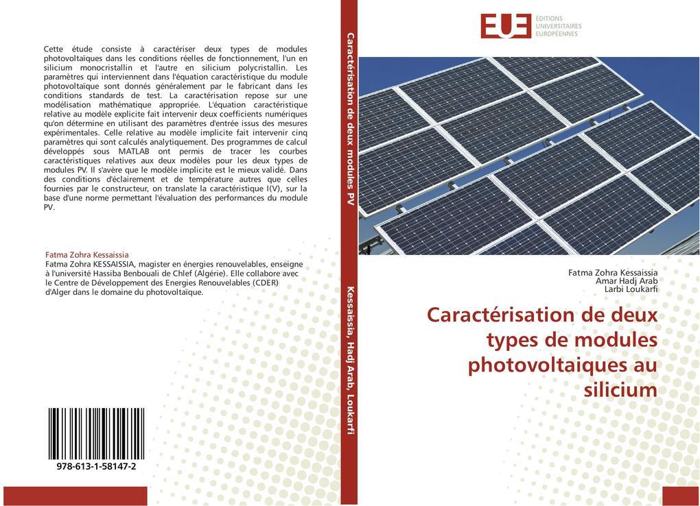 Caractérisation de Deux Types de Modules Photovoltaiques Au Silicium als Taschenbuch