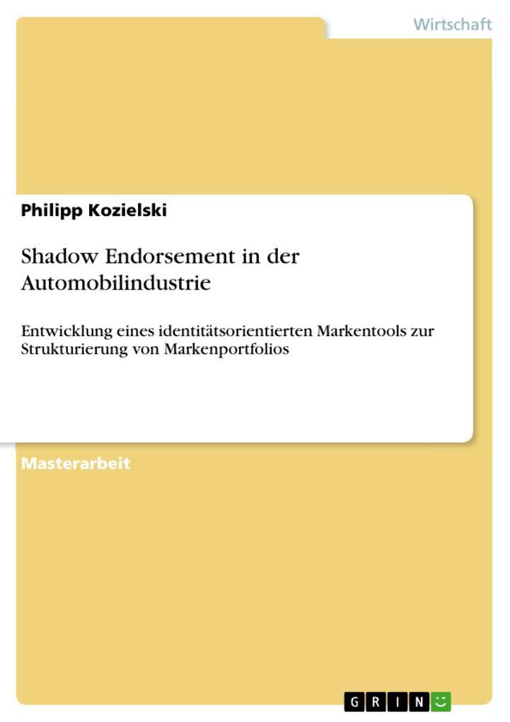 Shadow Endorsement in der Automobilindustrie als eBook pdf