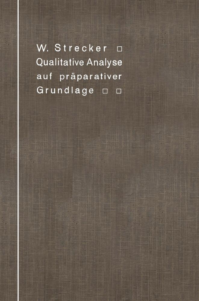 Qualitative Analyse auf präparativer Grundlage als Buch (kartoniert)