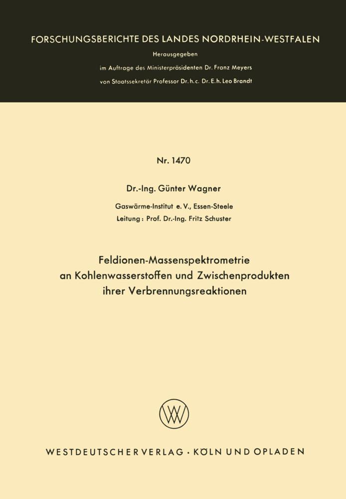 Feldionen-Massenspektrometrie an Kohlenwasserstoffen und Zwischenprodukten ihrer Verbrennungsreaktionen als Buch (kartoniert)