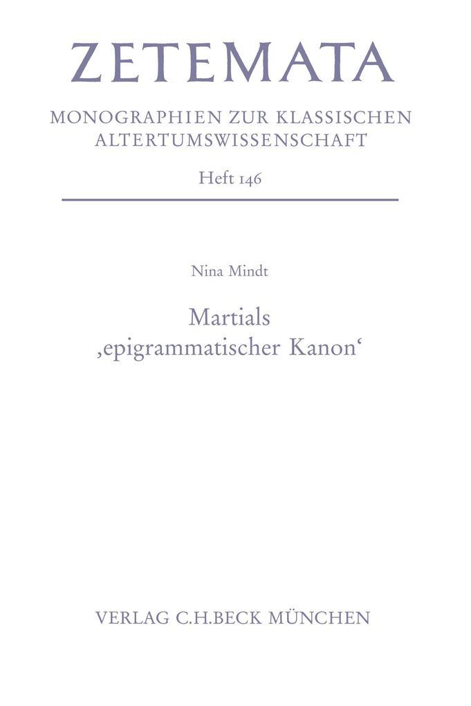 Martials 'epigrammatischer Kanon' als eBook pdf