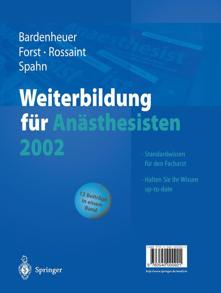 Weiterbildung für Anästhesisten 2002 als Buch (kartoniert)
