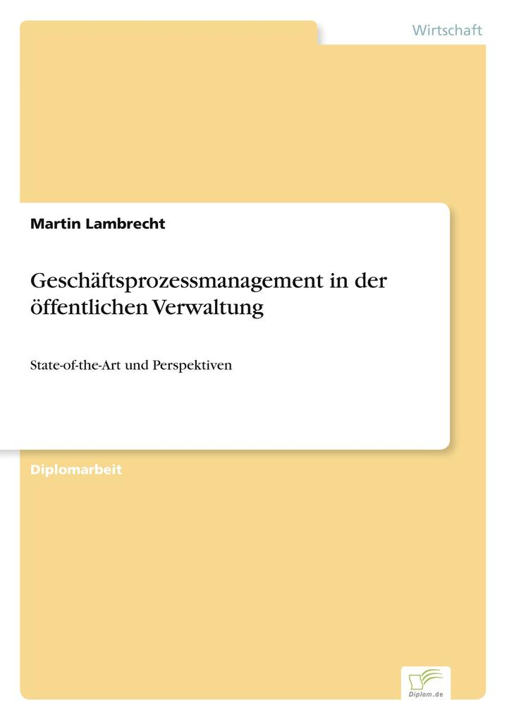 Geschäftsprozessmanagement in der öffentlichen Verwaltung als Buch (kartoniert)