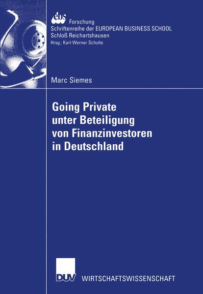 Going Private unter Beteiligung von Finanzinvestoren in Deutschland als Buch (kartoniert)