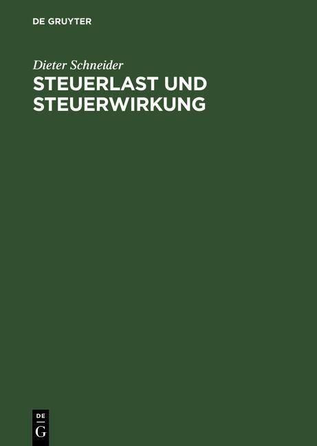 Steuerlast und Steuerwirkung als eBook pdf