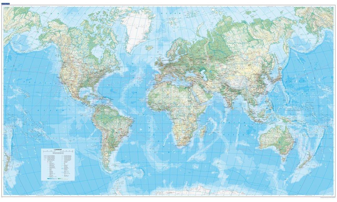 KuF Die Welt, physische Karte 1 : 30 000 000, plano als Blätter und Karten