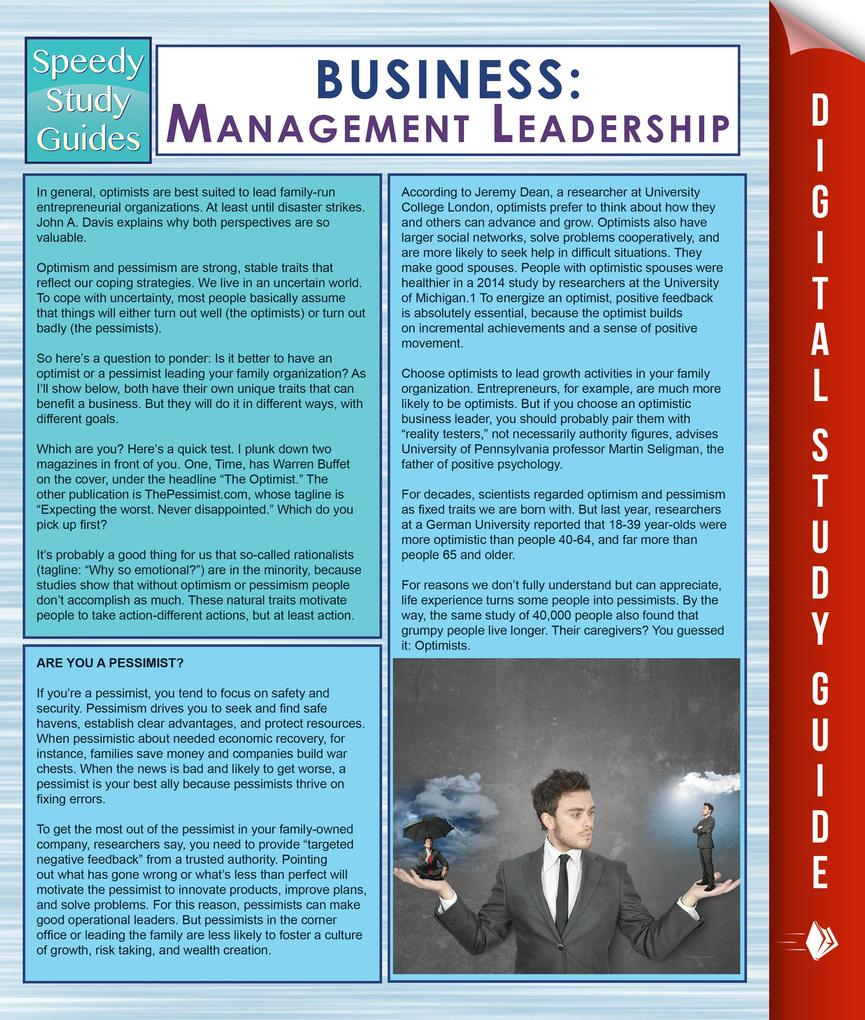 Business: Management Leadership (Speedy Study Guides) als eBook epub