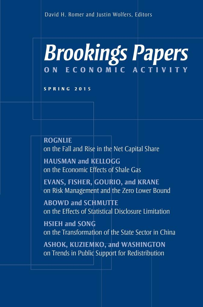 Brookings Papers on Economic Activity: Spring 2015 als Taschenbuch