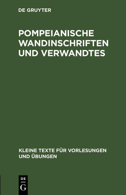 Pompeianische Wandinschriften und Verwandtes als eBook pdf